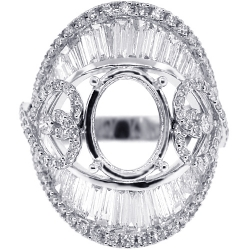 Diamond Oval Semi Mount Setting Ring 18K White Gold 4.15ct