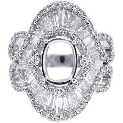 Diamond Semi Mount Vintage Ring Setting 18K White Gold 2.62ct