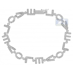 14K White Gold 1.40 ct Diamond LOVE Sign Womens Bracelet