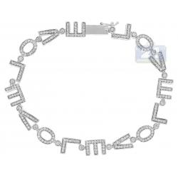 14K White Gold 1.40 ct Diamond LOVE Sign Womens Bracelet