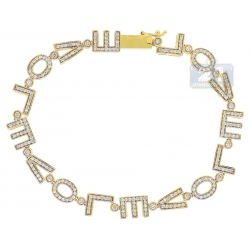 14K Yellow Gold 1.40 ct Diamond LOVE Word Womens Bracelet
