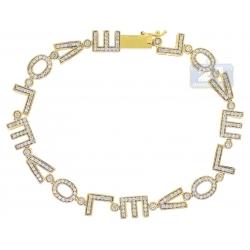 14K Yellow Gold 1.40 ct Diamond LOVE Word Womens Bracelet