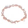 14K Rose Gold 1.40 ct Diamond I Love You Womens Bracelet