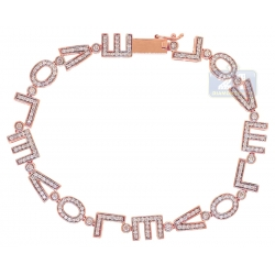 14K Rose Gold 1.40 ct Diamond I Love You Womens Bracelet
