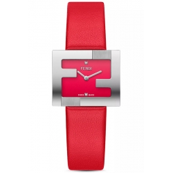 F100101901 Fendi Fendimania FF Logo Red Dial Womens Watch