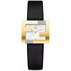 F100202102 Fendi Fendimania FF Logo Bezel Black Strap Womens Watch