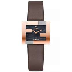 F100302201 Fendi Fendimania Rose Gold FF Logo Bezel Womens Watch