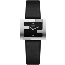 Fendi Fendimania FF Logo Bezel Black Dial Womens 24mm Watch