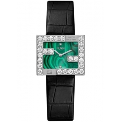 Fendi Fendimania 18K White Gold Malachite Dial Diamond Watch