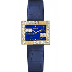 Fendi Fendimania 18K Yellow Gold Lapis Lazuli Dial Diamond Watch