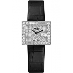 Fendi Fendimania 18K White Gold Diamond Pave Dial Watch