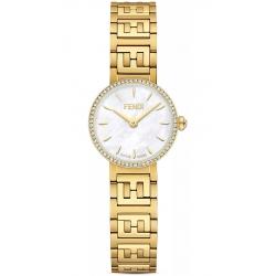 Fendi Forever Diamond Bezel White Dial Gold Bracelet 19mm Watch F103400601