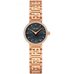 Fendi Forever Diamond Bezel Black Dial Rose Bracelet 19mm Watch F103500701