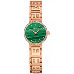 Fendi Forever Diamond Bezel Malachite Dial Rose Bracelet 19mm Watch F103501201