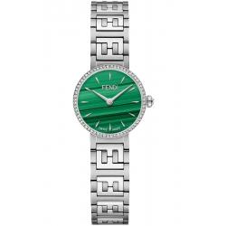 Fendi Forever Diamond Bezel Malachite Dial Steel Bracelet 19mm Watch F103110901