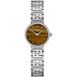 Fendi Forever Diamond Bezel Tiger Eye Dial Steel Bracelet 19mm Watch