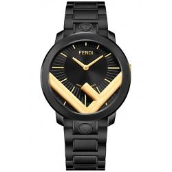 Fendi Run Away 41mm Gold F Black Steel Bracelet Mens Watch F710024011C0
