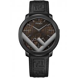 Fendi Run Away 41mm Gray F Logo Brown Dial Mens Watch F716612011