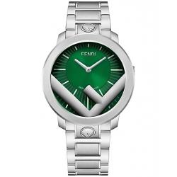 Fendi Run Away 41mm Green Dial Steel Bracelet Mens Watch F711018000