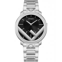 Fendi Run Away 41mm Black Dial Steel Bracelet Mens Watch F711011000