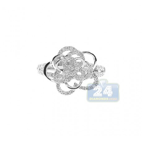 14K White Gold 0.70 ct Diamond Womens Rose Flower Ring