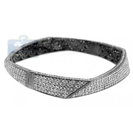 Black PVD 18K Gold 17.11 ct Diamond Womens Bangle Bracelet