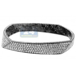 "Womens Diamond Fancy Bangle Bracelet Black 18K Gold 17.11 ct 7"""