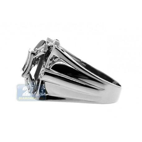 Black PVD 14K Gold 0.82 ct Princess Round Cut Diamond Mens Ring