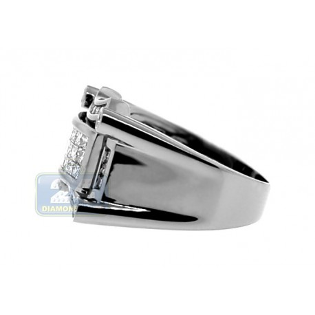 Black PVD 14K Gold 0.99 ct Princess Round Cut Diamond Mens Ring