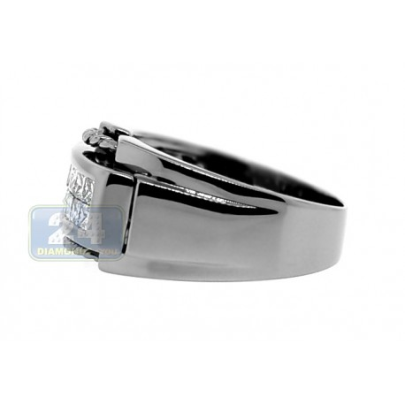 Black PVD 14K Gold 0.91 ct Princess Cut Diamond Mens Ring