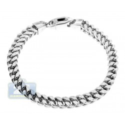 10K White Gold Diamond Cut Franco Mens Bracelet 6 mm 8.5 Inches