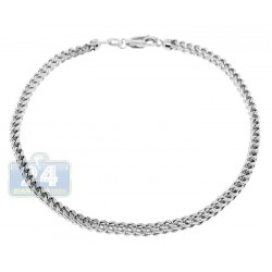 10K White Gold Diamond Cut Franco Mens Bracelet 3 mm 8 1/2 Inch