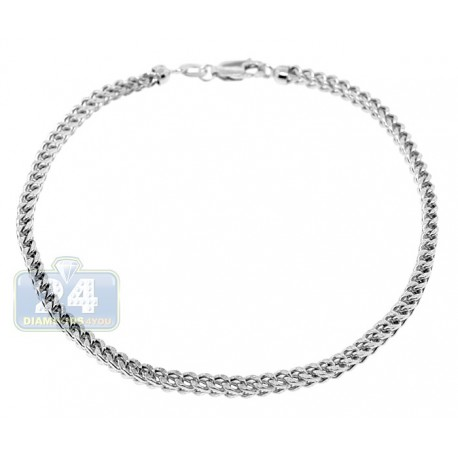 Real 10K White Gold Franco Diamond Cut Mens Bracelet 3mm 8.5""