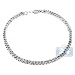 10K White Gold Franco Link Mens Bracelet 3.5 mm 9 Inches