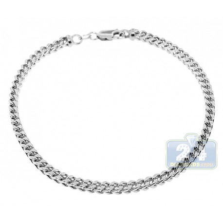 Real 10K White Gold Hollow Franco Link Mens Bracelet 3.5mm 9""