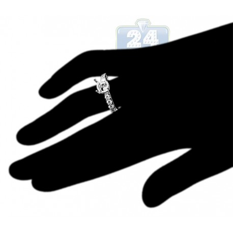 18K White Gold 1.05 ct Diamond Semi Mount Engagement Ring Setting