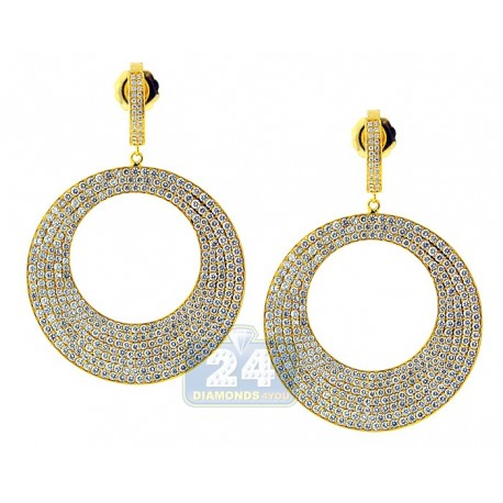 Womens Diamond Round Dangle Earrings 18K Yellow Gold 10.32 ct