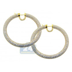 18K Yellow Gold 30.37 ct Diamond Womens Hoop Earrings 2.25 Inch