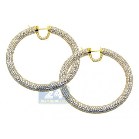 Womens Diamond Hoop Earrings 18K Yellow Gold 30.37 ct 2.25""