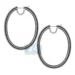 18K White Gold 17.35 ct Black Diamond Oval Hoops Womens Earrings 2 1/5 Inches