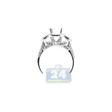 18K White Gold 0.81 ct Round Cut Diamond Engagement Ring Setting