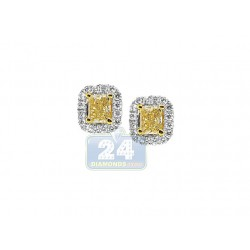 18K White Gold 1.68 ct Fancy Yellow Diamond Womens Stud Earrings