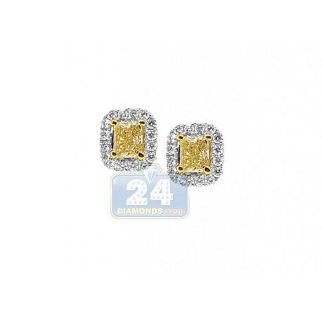 18K White Gold 1.68 ct Fancy Yellow Diamond Womens Stud Earrings