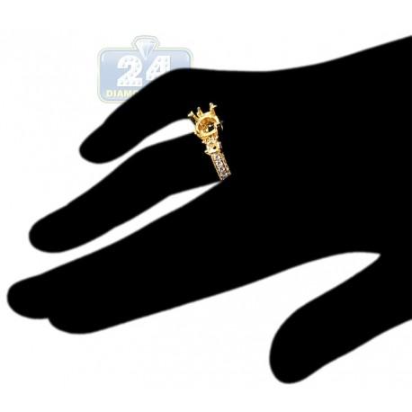 18K Yellow Gold 0.75 ct 3 Stone Diamond Vintage Engagement Ring Setting