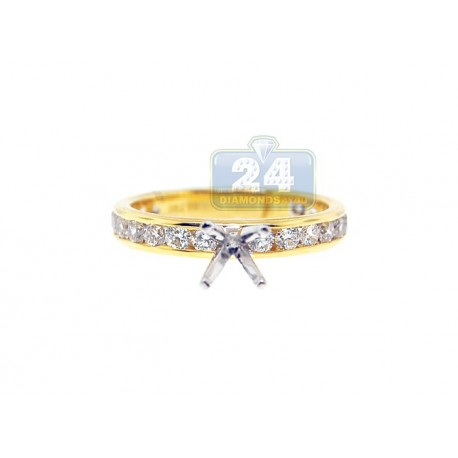 14K Two Tone Gold 1.01 ct Diamond Engagement Ring Setting