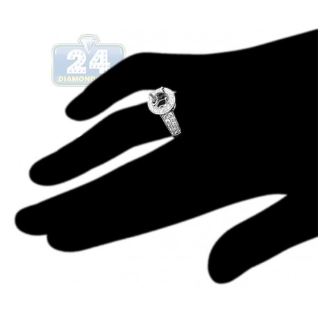 14K White Gold 0.89 ct Diamond Halo Womens Engagement Ring Setting