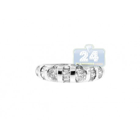 14K White Gold 0.70 ct Mixed Diamond Womens Band Ring