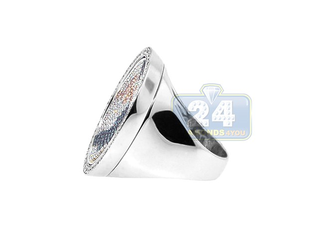 ... 18K White Gold 1.72 Ct Multicolored Diamond World Map Mens Ring ...