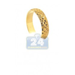 10K Yellow Gold Womens Diamond Cut Wedding Band 6 mm