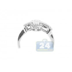 14K White Gold 0.74 ct Diamond Mens Cross Signet Ring